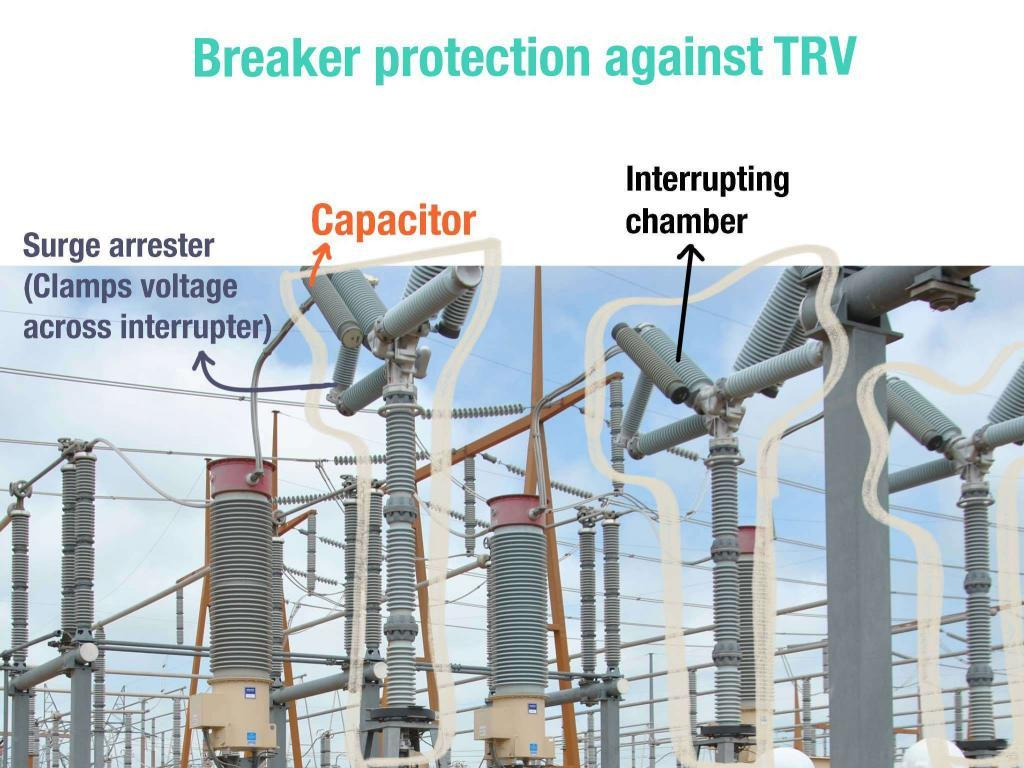 Circuit breaker fitted with capacitor to suppress restrike voltage a.k.a. transient recovery voltage